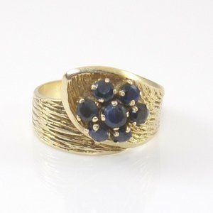 Solid 14K Yellow Gold Blue Sapphire Ring Size 5.75